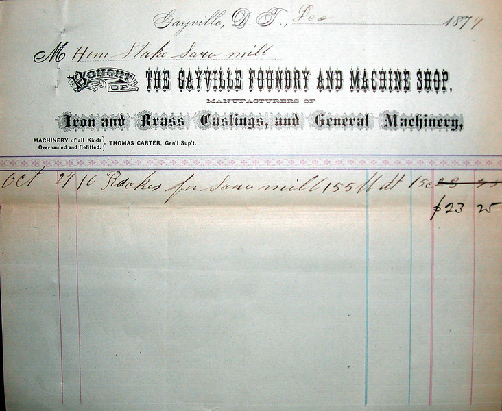 "This receipt from the Gayville Foundry and Machine Shop, dated October 27, 1877, reflected a transaction with the ""Home Stake Saw Mill.""<br /> <br /> Our thanks to the Black Hills Mining Museum in Lead for making this available."