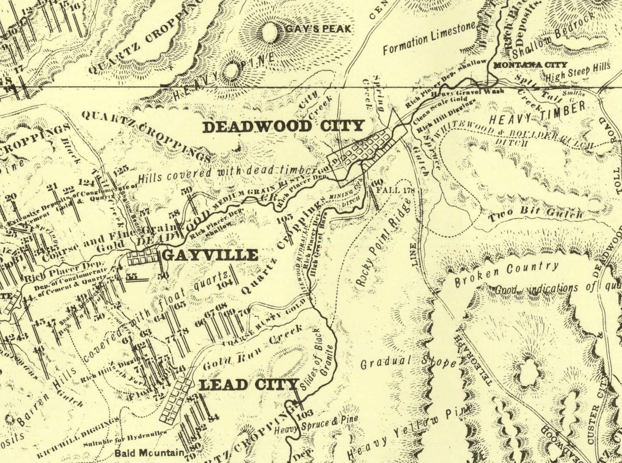 "A closeup of the Gayville area from an 1877 map of the northern Black Hills region of Dakota Territory.  It was created from a survey done by George Henckel, Deputy United States Surveyor.          Return to <a href=""http://lawrencecountyhistory.blogspot.com/2009/11/so-they-hanged-bill-gay.html""><i> So they hanged Bill Gay</i></a>  Return to <a href=""http://lawrencecountyhistory.com""> Historical Marker</a>"