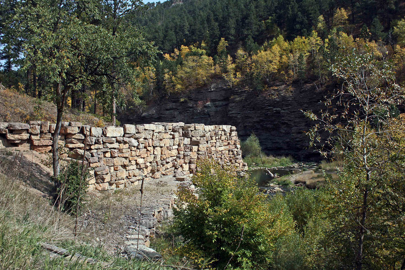 This stone wall is a rather contemporary addition along Whitewood Creek between Deadwood and Whitewood.
