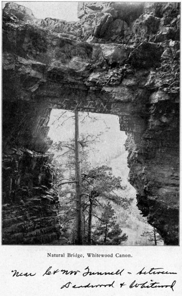 "Thanks to LCHS past-president Jerry Bryant for providing this historic photo of the Natural Bridge along Whitewood Creek.  The image is thought to have been captured about 1905. Amazingly, the Natural Bridge remains..... silently exhibiting its ""bridge"" from yesteryear to today!"