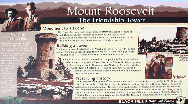 This Black Hills National Forest marker includes some good information about the history of the Friendship Tower, and the friendship that prompted its construction.<br /> <br /> Click on the sign to select a larger image for viewing.