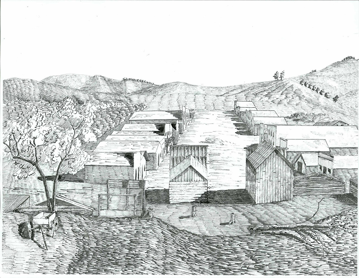 "This undated image is labeled as an ""Early Reporter's Drawing of Crook City."""
