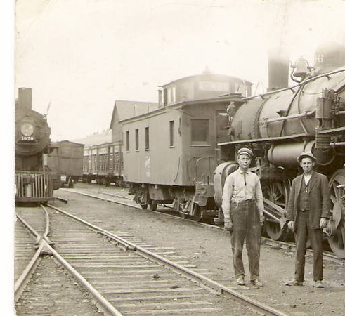 In the rail yard at Whitewood, South Dakota, undated.  Photo courtesy of the Whitewood Public Library.