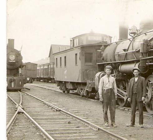 In the rail yard at Whitewood, South Dakota, undated.  Photo courtesy of the Whitewood Public Library.