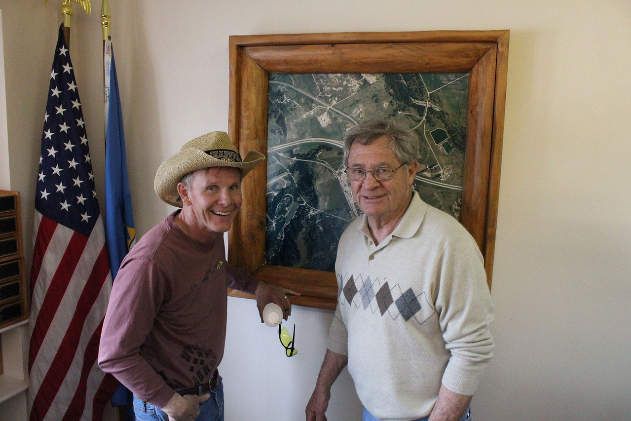 Rand Williams of Spearfish (left) and another gentleman enjoying an aerial view of Whitewood.