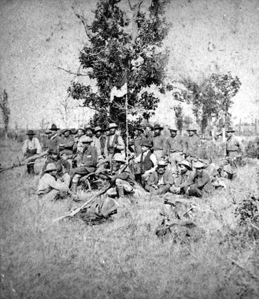 "We saw no sign of these hombres, labeled ""1876 Crooks Army on the Whitewood.""  Photo courtesy of Jerry Bryant."