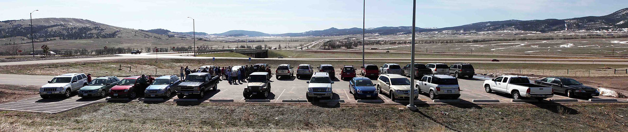 <b>LCHS 2013 SPRING TOUR - April 27, 2013 <i>Whitewood and Crook City</i></b> -  About 20 vehicles assembled at Exit 17 of I-90 to begin the tour.