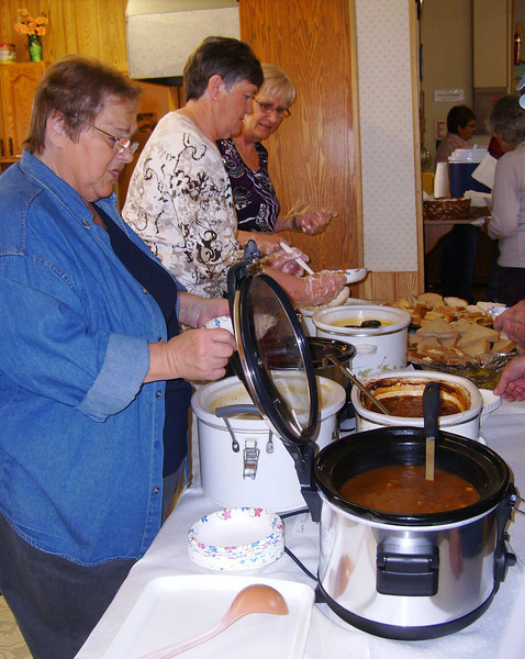 Lunch at the Senior Citizens Center was delicious.  Thanks to the many ladies who helped prepare and serve the food.  And a tip of the hat to Norma Kraemer for this photo.