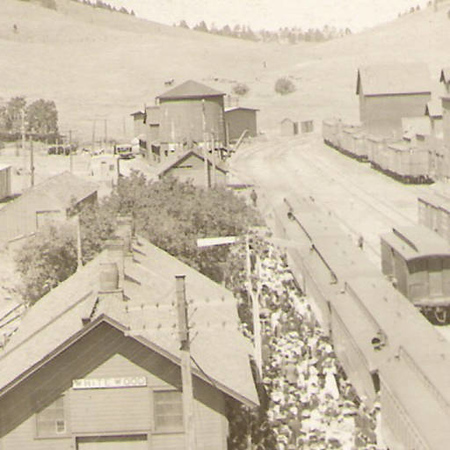 """Labor Day Picnic"" in the rail yard at Whitewood.  This undated photograph is courtesy of the Whitewood Public Library."