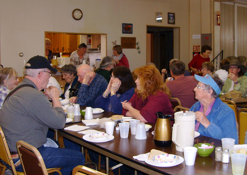 Finishing lunch at the Whitewood Senior Citizens Center.  This photo courtesy of Norma Kraemer.