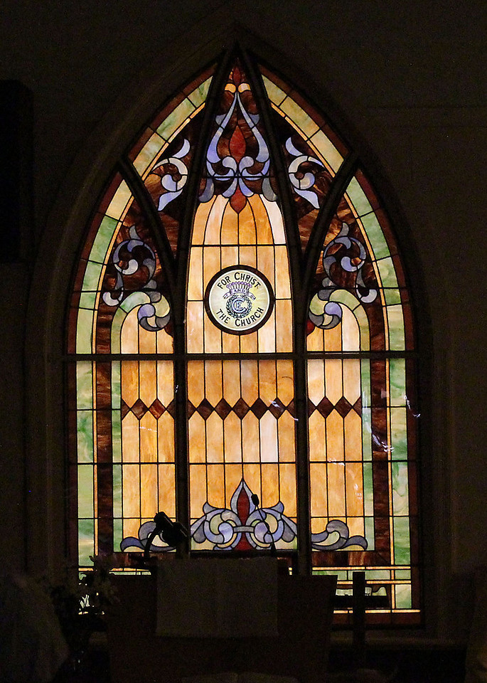 The stained glass windows that adorn the church are beautiful.<br /> <br /> Unfortunately, there is no record of exactly who manufactured the windows or when they were installed.  From the limited records that are available, it is estimated they were installed between 1911 and 1916.<br /> <br /> In all, there are 12 stained glass windows.