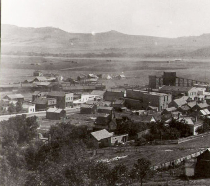 An undated birds-eye view of Whitewood, South Dakota.  Probably taken in the very early 1900's.   Photo courtesy of the Whitewood Public Library.