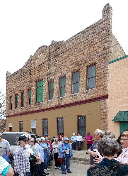 "Click on the photo and choose ""X3"" for a closer look at the Bonniwell Building, which was constructed in 1905.  Philip M. Bonniwell  operated a hardware store downstairs, as well as a harness and saddle shop.  The upstairs dance hall was dubbed the <b><i>Golden Wheel Dance Hall</i></b> and was a popular destination for more than 50 years!  Several of our tour participants remember attending dances there."