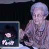 "Olga Nelson of Lead with a ""troll"" doll.              Return to: <a href=""http://www.lawrencecountyhistory.com"">LCHS <i><b>Historical Marker</b></i></a>"