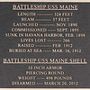This plate lists key specifications of the USS Maine, which sunk in the harbor of Havana, Cuba in 1898, contributing to the onset of the Spanish-American War.