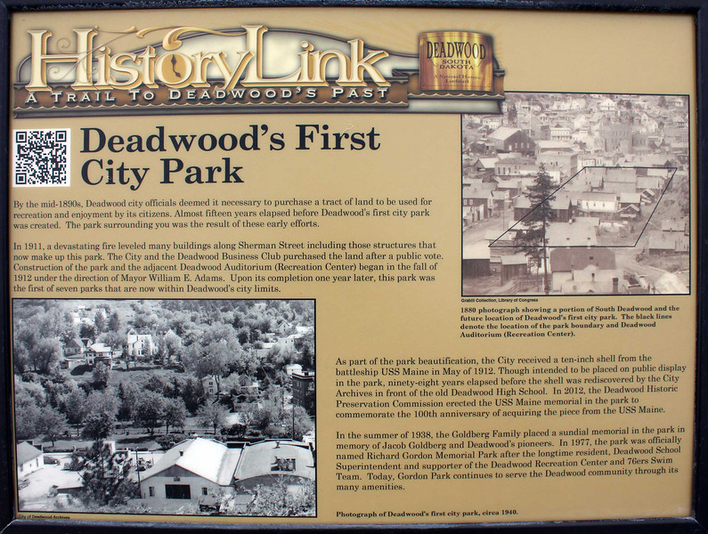 This new sign in Deadwood's Gordon Park acknowledges the site of the first city park in Deadwood. <br /> <br /> Click on the image to read the information on the sign.