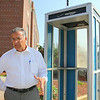 Leominster Mayor Dean Mazzarella talks about the last phone booth in city which he would like to save.  SENTINEL & ENTERPRISE/JOHN LOVE