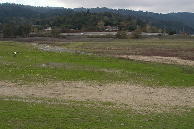Looking from the lower part of the lakebed up towards the new Highway 17.