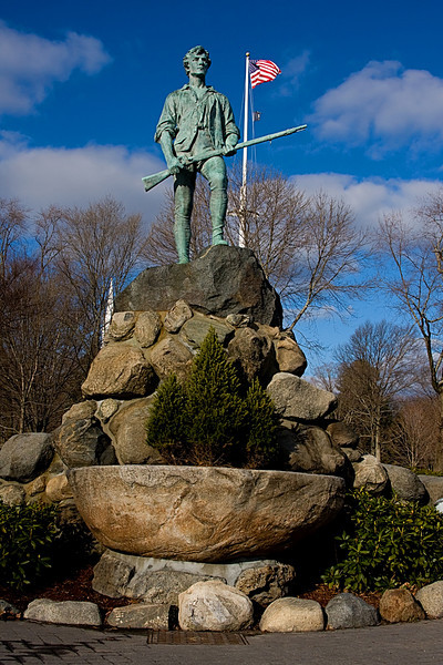 <center>Statue of a Minuteman on Battle Green <br><br>Lexington, Massachusetts</center>
