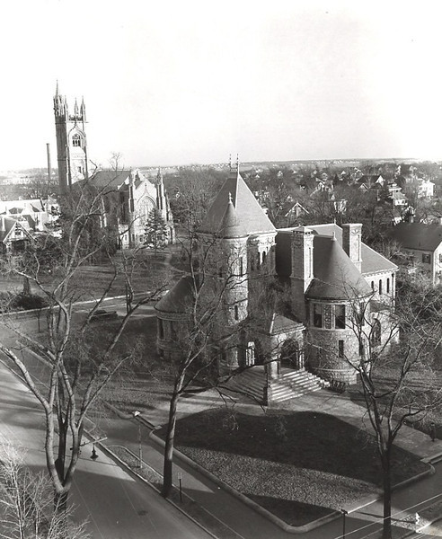 The Millicent Library about 1950 from the Congregational Church by Gardner Fassett