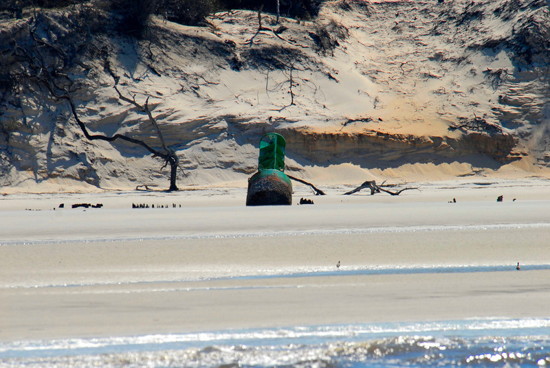 The Green 7 Can from the ocean entrance to St. Andrews Sound - on the North Little Cumberland Island Beach