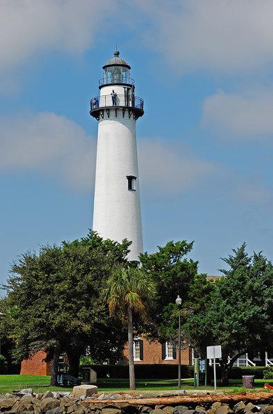 St. Simons Light House or Lighthouse as seen from St. Simons Sound, Georgia near the ICW