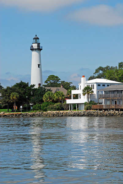 St. Simons Light House or Lighhouse as seen from St. Simons Sound in Georgia near the ICW