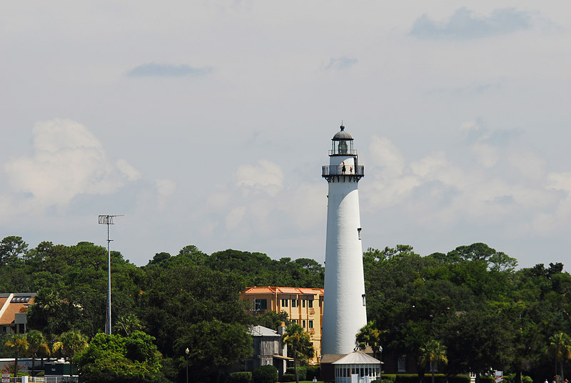 St. Simons Light House or Lighthouse as seen from St. Simons Sound, Georgia near the ICW