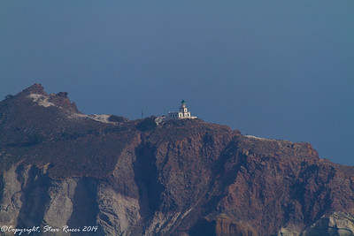 The Akrotiri lighthouse, seen from the ship as we were leaving Santorini