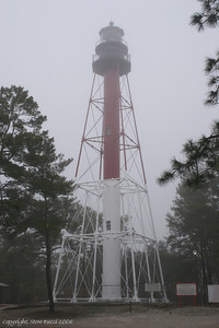 Crooked River Lighthouse after a  new paint job (in a strange Gulf of Mexico fog).