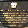 BRECHEISEN FIELD PLAQUE<br /> The field was previously called Thomsen field--by some, named after the owner of the property the field was build upon, Dr. Thomsen.