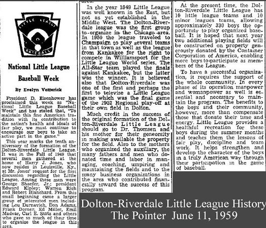 DOLTON-RIVERDALE LITTLE LEAGUE HISTORY - 1959