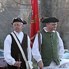 Annual Patriot's Day ceremony at Liberty Square in Littleton, where minutemen mustered to march to the battle in Concord. Boxborough District Minutemen Company members Norm Hanover, left, and Tim Blankenship, both of Boxboro. (SUN/Julia Malakie)