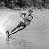 Brian Harris on his prized Lapstrake (wooden) shi by famed ski guy Fred Williams. Brisbane River out from Long Pocket.
