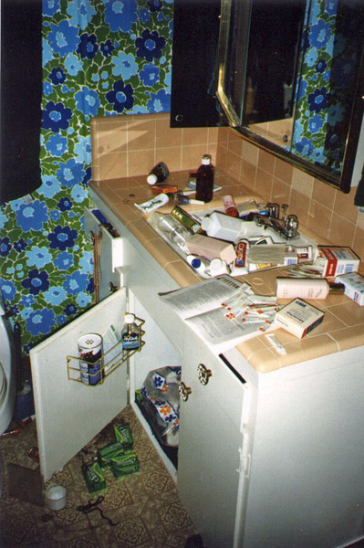 The contents of the medicine cabinets emptied onto the counter and shook themselves into a huge pile in the sink.