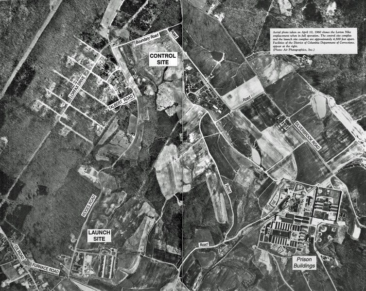 Photo of overall area.  Caption on photo indicates that it was taken April 1960.  However Site W-64 was supposed to have converted to Hercules 6/58-3/59 and photo shows Ajax radars in the Fire Control Area.  It also shows two radar sets and unit was a double site when it was Ajax.