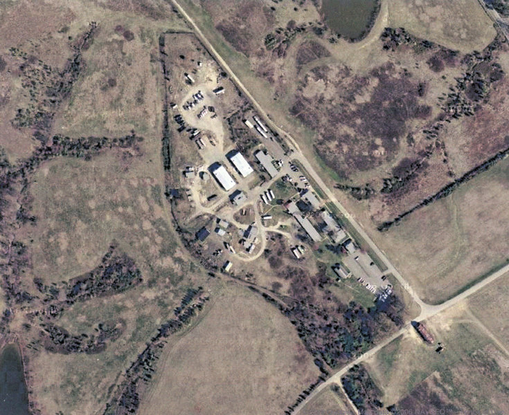 View of the Fire Control and Administrative site as it pretty much looks at present.  Many of the original buildings remain.  Photo taken from Google satelite maps.
