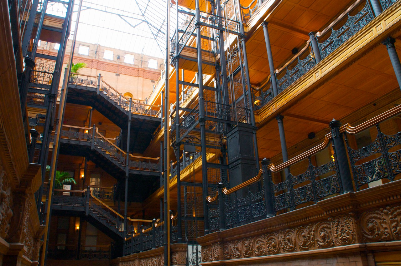 The Bradbury Building, downtown Los Angeles, Broadway.