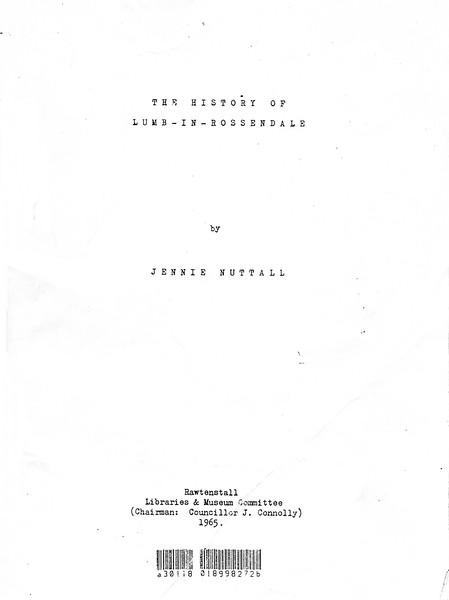 History of Lumb in Rossendale 01