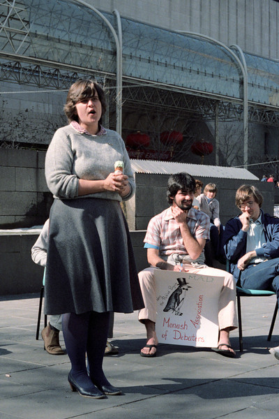 1983 Debate in Melbourne City Square. Elisabeth Ford, Mark Attard, Tony Holmes.