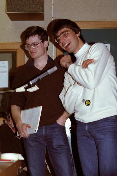 August 1982. Mark Harrick and Mark Attard debating on the radio in Hobart.