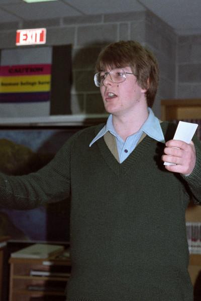 August 1982 Minivarsity. Jon Buttery, member of Anonymous, debating.