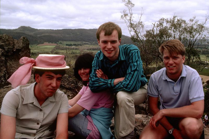 1987 MAD Picnic at Hanging Rock. Greg Wheeler (President 1987), Julianne Jaques, Michael McCormack (President 1989), Chris Freeland.