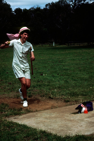 1987 MAD Picnic at Hanging Rock. Greg Wheeler (President), bowling like a girl. Note the penguin wicketkeeper.