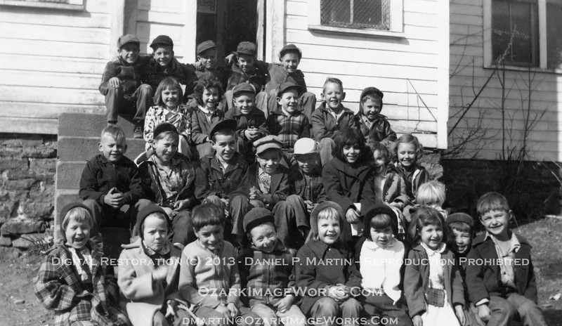 Pettigrew School - Group Photo.  If cold weather and hard work builds character, the faces in this photo prove there's plenty of character to go around.  Digital restoration - Original print dated Feb. 1955.