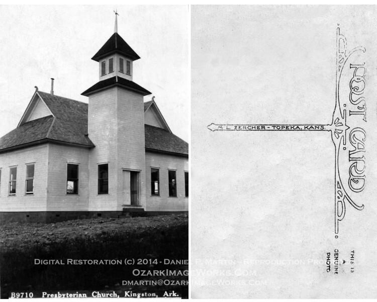 Postcard - Kingston, AR Presbyterian Church<br /> <br /> M. L. Zercher - Topeka, KS Postcard (early / mid 1920's?)<br /> <br /> Digital restoration from original postcard.