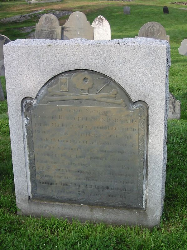Reverend John Barnard and his headstone written entirely in Latin.