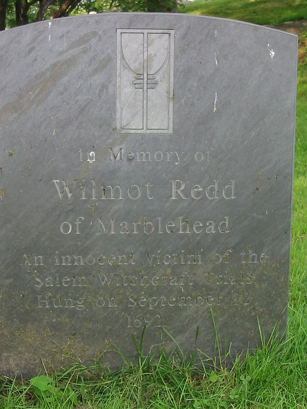 The gravesite of Wilmot Redd, the only resident of Marblehead tried and convicted in Salem's Witchcraft trials. She was put to death on Gallow's Hill in Salem in September, 1692. Redd's Pond is named for her and is overlooked by this gravestone.