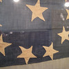 "Millard Fillmore House : Twelve star American flag on display in the Millard Fillmore House in East Aurora, New York. 44x65"" said to be single-ply wool bunting and two-ply linen thread. There is no heading"