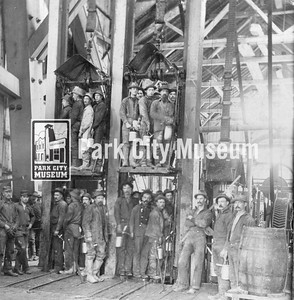 Men at the Ontario Mine No. 8 lift, ca.1900 (Image: 2006-17-5, Tuggle and Doppler Families Collection)